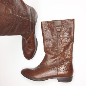 Nicole Miller Leather brown boots Cognac 8 EUC